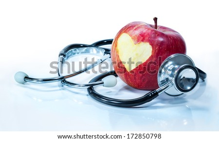 concept of love for health - apple with stethoscope  Royalty-Free Stock Photo #172850798
