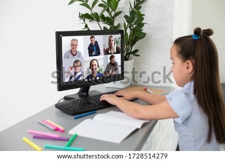 Little Girl Using Computer Concept, distance online learning #1728514279