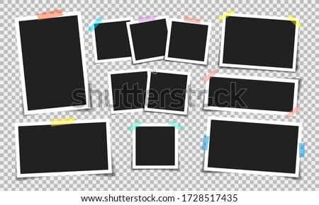 Photo frame with adhesive tape of different colors and paper clip. Photo realistic vector makeup of different size on transparent background. Royalty-Free Stock Photo #1728517435