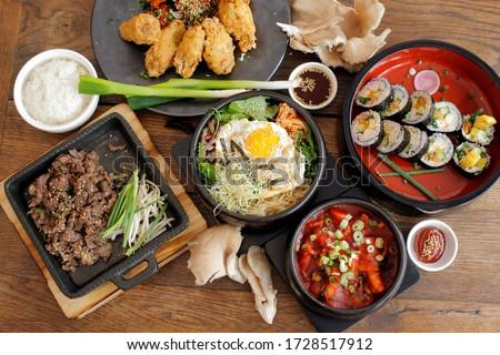 korean food, bibimpap, bulgogi, kimpap, tteok boggi Royalty-Free Stock Photo #1728517912