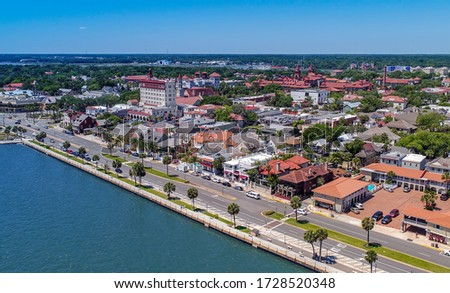 Aerial view of downtown St. Augustine, FL #1728520348