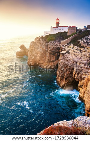 Lighthouse on Cape St. Vincent at sunset in Algarve, Portugal. Summer landscape.This is the most South-Western point of Europe