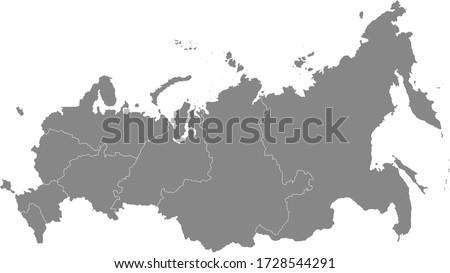 Grey Federal Districts Map of Eurasian Country of Russia Royalty-Free Stock Photo #1728544291