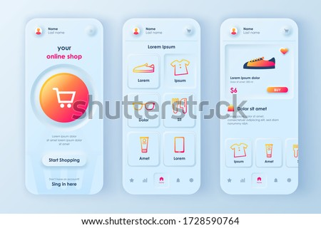 Online shopping unique neumorphic design kit for mobile app neumorphism style. Shopping platform screens with product. Internet marketplace UI, UX template set. GUI for responsive mobile application. #1728590764