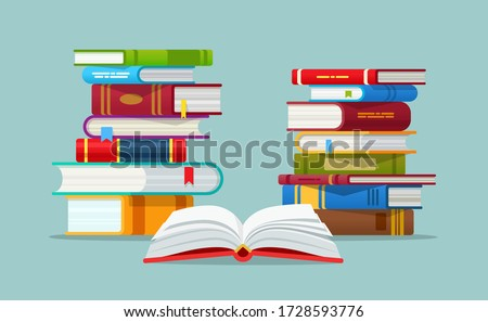 Open book on red cover and stack of books flat design vector illustration. Reading, education and knowledge.  E-book, literature, encyclopedia. Template for Books Shop advertising