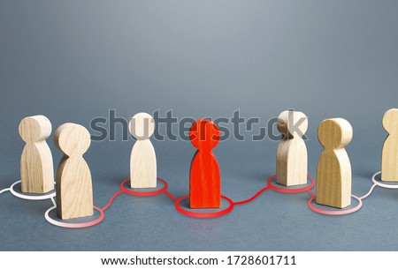 Red person spreads his influence to other people. The process of chain infection. Dissemination of information and rumors. Recruiting new followers around the idea. Leader and leadership. Royalty-Free Stock Photo #1728601711
