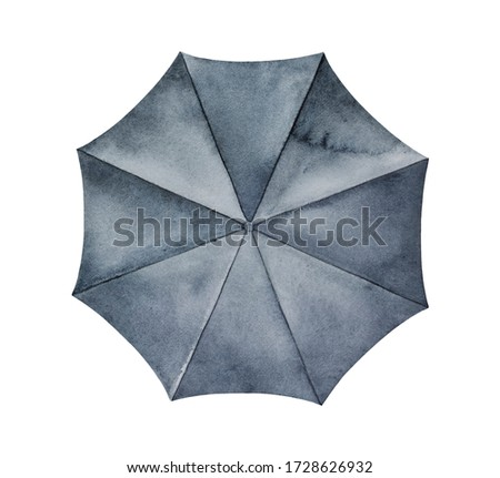 Watercolor drawing of black opened umbrella with artistic brushstrokes and washes. Single object, top view. Handdrawn watercolour graphic painting on white backdrop, cutout clipart element for design.