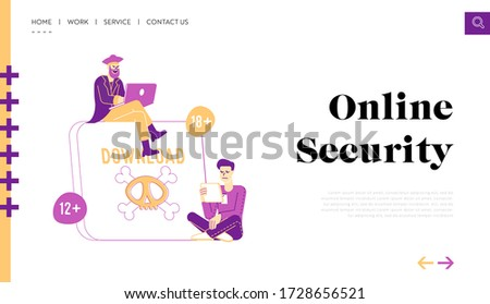 Pirate Content Free Download Landing Page Template. Characters at Huge Tablet Pc with Jolly Roger on Screen Transfer and Sharing Files Using Torrent Servers Services. Linear People Vector Illustration