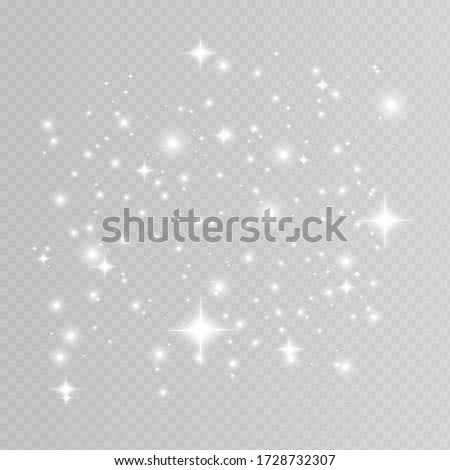White sparks glitter special light effect. Vector sparkles on transparent background. Christmas abstract pattern. Sparkling magic dust particles  #1728732307