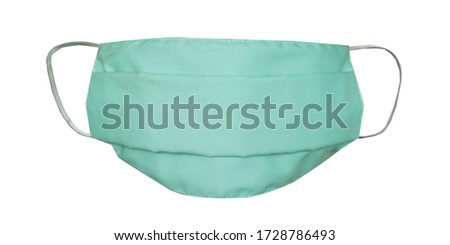 Medical face mask or surgical ear loop mask isolated on white background.  #1728786493