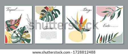 Vector collection of trendy creative cards with floral exotic tropical elements, palm leaves in graphic abstract style. Design for poster, card, invitation, placard, brochure. #1728812488