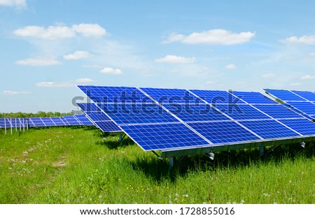 Solar panels and blue sky. Solar panels system power generators from sun. Clean technology for better future #1728855016