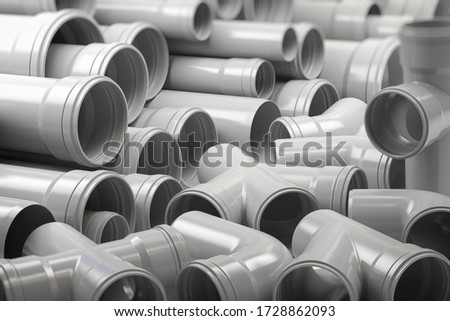 PVC plastic pipes and tubes stacked in warehouse. 3d illustration #1728862093