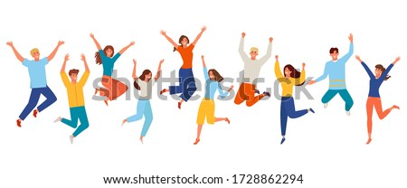 People happy jumping set. Young funny teens large group guy, girl, jumping together joy lifestyle celebration victory team smiling students celebrates success. Color cartoon vector. Royalty-Free Stock Photo #1728862294