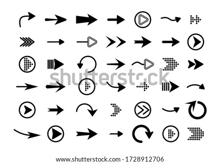 Big set of vector flat arrows. Collection of concept arrows for web design, mobile apps, interface and more. Collection of app sign elements. Vector illustration, eps 10. #1728912706