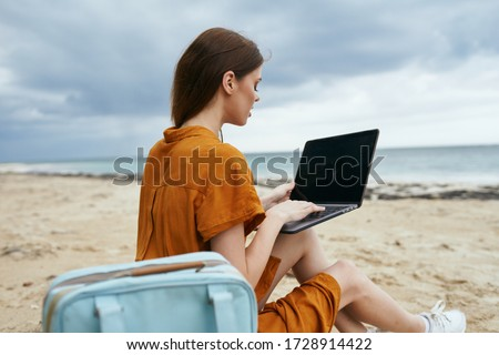 Laptop education woman nature freelancer #1728914422