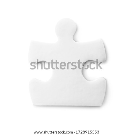 Blank puzzle piece isolated on white, top view #1728915553