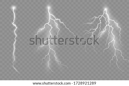 The effect of lightning and lighting, set of zippers, thunderstorm and lightning, symbol of natural strength or magic, light and shine, abstract, electricity and explosion, vector illustration, eps 10 #1728921289