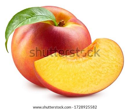 Fresh peach leaf isolated on white. Organic peach. Peach clipping path. Full depth of field #1728925582