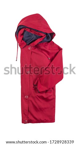 female  red coat with a hood Isolated on a white background. autumn women's coat not wet from the rain top view #1728928339