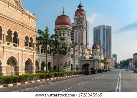 The Sultan Abdul Samad Building, build 1897 in Mughal architecture, in the historical centre of Kuala Lumpur, the capital of Malaysia #1728945565