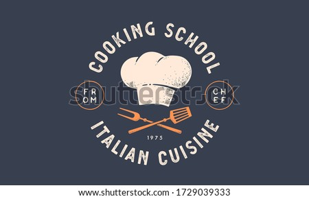Food logo. Logo for Cooking school class with icon bbq tools, grill fork, spatula, text typography Coocking School, Cuisine. Graphic logo template for cooking cuisine course. Vector Illustration #1729039333