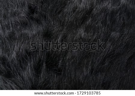 Long black fur of a bear or dog. Faux fur fabric. Artificial fur fabric texture, useful as background #1729103785