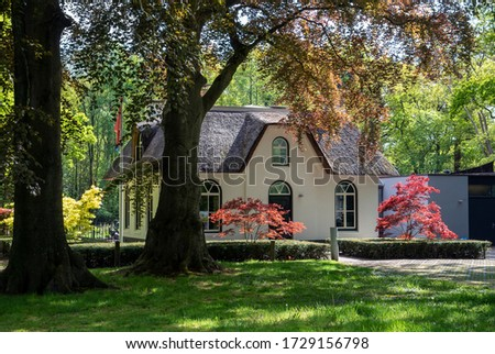A cottage in the park with beautiful spring light in the garden #1729156798