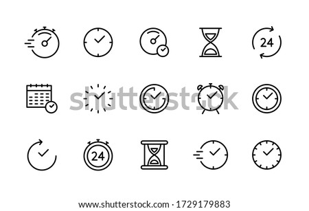Time and clock vector linear icons set. Time management. Timer, speed, alarm, recovery, time management, calendar and more. Isolated collection of time for web sites icon on white background. #1729179883