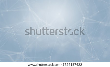 Abstract futuristic with connection lines on blue background. Plexus structure. Concept of Science, Business, Communication, Medical, Technology, Network, Cyber, Sci-fi. Illustration. 3D rendering