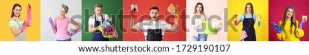 Young people with cleaning supplies and laundry on colorful background #1729190107