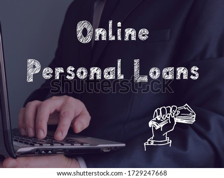 Financial concept about Online Personal Loans with sign on the page.