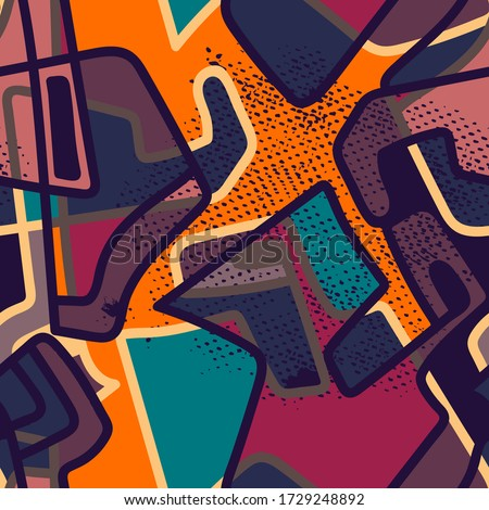 Abstract urban colorful seamless pattern.   #1729248892