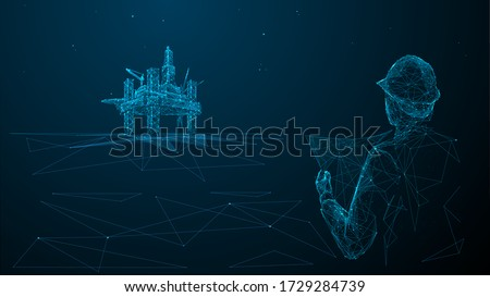 rchitect or engineer in hard hat holding a blueprint looking at gas drilling. 3d abstract vector illustration. Construction, business or petroleum industry concept. Low poly wireframe  Royalty-Free Stock Photo #1729284739