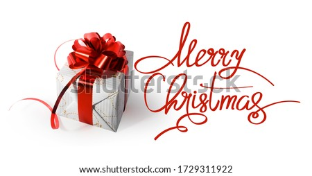 Merry Christmas greeting card, frame, banner. Christmas gift, present on white background top view. Royalty-Free Stock Photo #1729311922