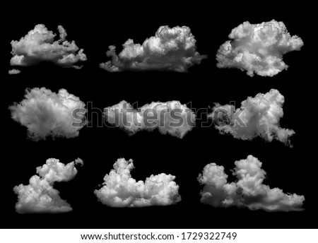 Collections of separate white clouds on a black background have real clouds. White cloud isolated on a black background realistic cloud. white fluffy cumulus cloud isolated cutout on black background #1729322749
