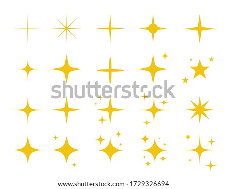 Sparkles symbols vector set in yellow color. Vector stars sparkle icon. Bright firework, decoration twinkle, shiny flash. Glowing light effect stars and bursts collection. Vector #1729326694