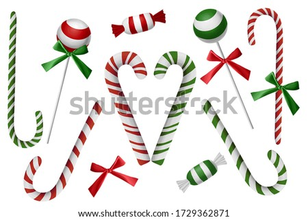 Traditional Christmas candies. Bright clip art set on white background