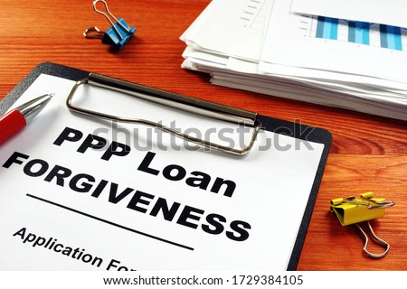 Paycheck Protection Program PPP Loan forgiveness application form. Royalty-Free Stock Photo #1729384105