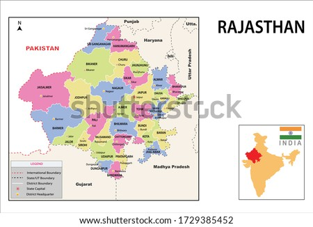 Rajasthan map. Political and administrative map of Rajasthan with districts name. Showing International and State boundary and district boundary of Rajasthan. Vector illustration of districts map. Royalty-Free Stock Photo #1729385452