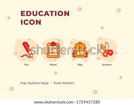 Education icon set with modern flat outline style. #1729437280