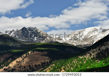 Beautiful landscape with cloud shadows passing over the Rocky Mountains during summer in Rocky Mountain National Park near Estes Park, Colorado #1729493053