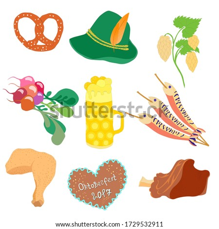 Oktoberfest Traditional Food, Beer Mug with Foam, Munich Brewers Hat with Feathers and Hop Twig. Freehand Style Clip Art. 10