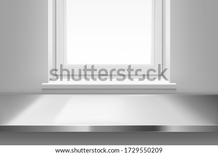 Steel table surface top view front of window with sun light on white wall background. Kitchen or cafe interior with stainless desk, inner design project visualization, Realistic 3d vector illustration Royalty-Free Stock Photo #1729550209