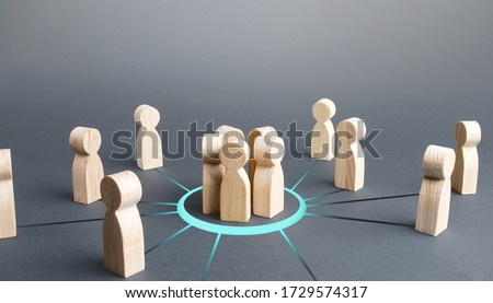 Group gathering people around. Collaboration and cooperation, team building. Recruitment. Joining around idea. Consolidation with majority. Involvement in a project. Accept membership in organization. Royalty-Free Stock Photo #1729574317