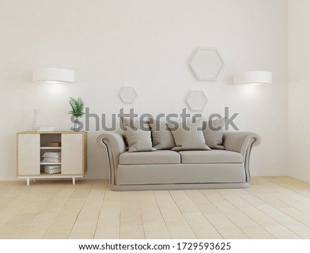 White minimalist living room interior with sofa, dresser on a wooden floor, decor on a large wall, white landscape in window. Home nordic interior. 3D illustration #1729593625