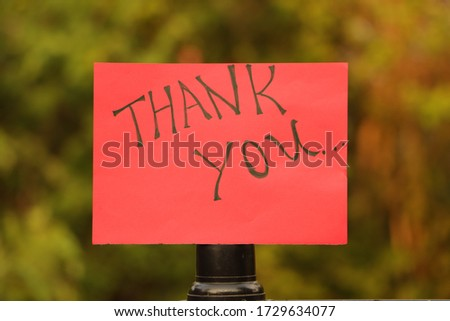 Handwriting text thankyou isolated on outdoor background  #1729634077
