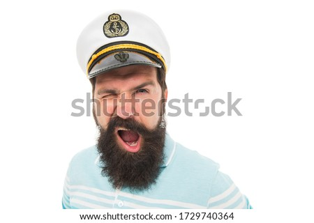 Winking sailor copy space. Bearded sailor isolated on white. Navy and marine. Sea adventures concept. Sailor or seaman with long beard and mustache. Work as sailor. Professional mariner. Sea food. #1729740364