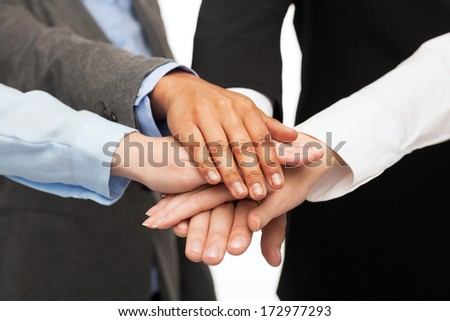 business, succcess and winning concept - group of businesspeople celebrating victory #172977293