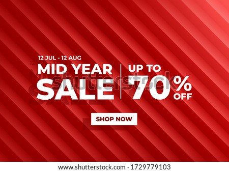 Mid Year Sale, Summer sale banner. Red background special offers and promotion template design. #1729779103